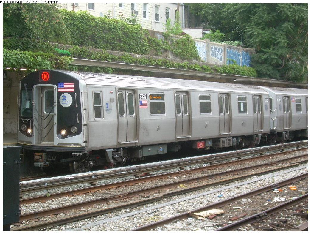 (264k, 1044x788)<br><b>Country:</b> United States<br><b>City:</b> New York<br><b>System:</b> New York City Transit<br><b>Line:</b> BMT Sea Beach Line<br><b>Location:</b> New Utrecht Avenue <br><b>Route:</b> N<br><b>Car:</b> R-160B (Kawasaki, 2005-2008)  8737 <br><b>Photo by:</b> Zach Summer<br><b>Date:</b> 8/7/2007<br><b>Viewed (this week/total):</b> 0 / 1977