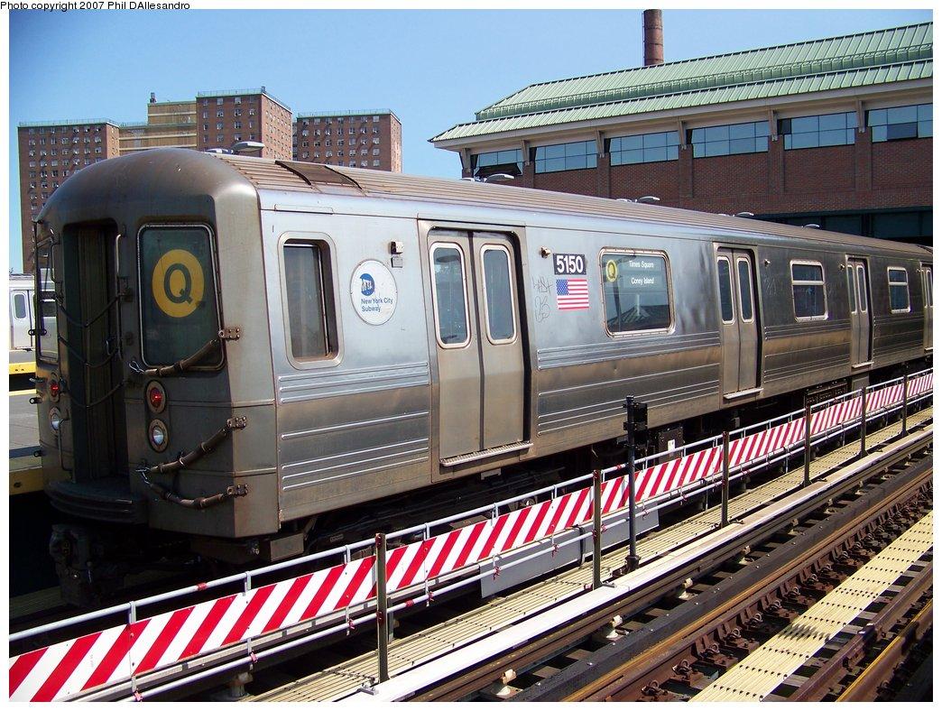 (244k, 1044x788)<br><b>Country:</b> United States<br><b>City:</b> New York<br><b>System:</b> New York City Transit<br><b>Location:</b> Coney Island/Stillwell Avenue<br><b>Route:</b> Q<br><b>Car:</b> R-68A (Kawasaki, 1988-1989)  5150 <br><b>Photo by:</b> Philip D'Allesandro<br><b>Date:</b> 8/11/2007<br><b>Viewed (this week/total):</b> 5 / 1605