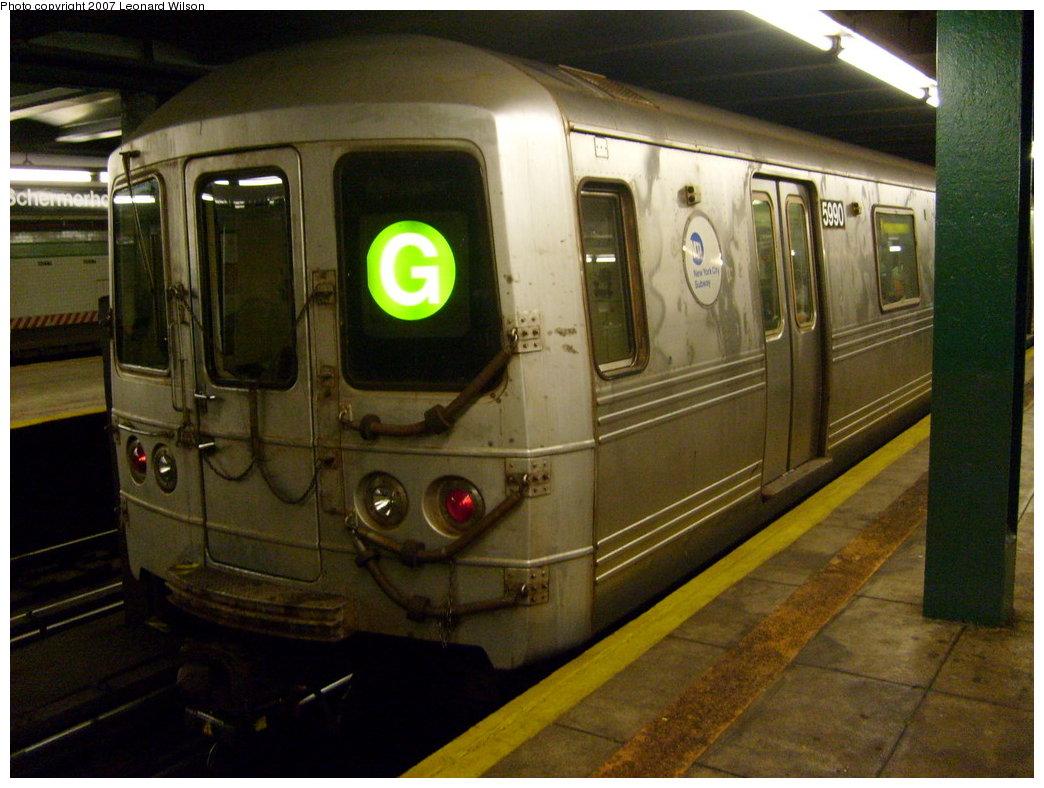(202k, 1044x788)<br><b>Country:</b> United States<br><b>City:</b> New York<br><b>System:</b> New York City Transit<br><b>Line:</b> IND Fulton Street Line<br><b>Location:</b> Hoyt-Schermerhorn Street <br><b>Route:</b> G<br><b>Car:</b> R-46 (Pullman-Standard, 1974-75) 5990 <br><b>Photo by:</b> Leonard Wilson<br><b>Date:</b> 8/11/2007<br><b>Viewed (this week/total):</b> 5 / 2567