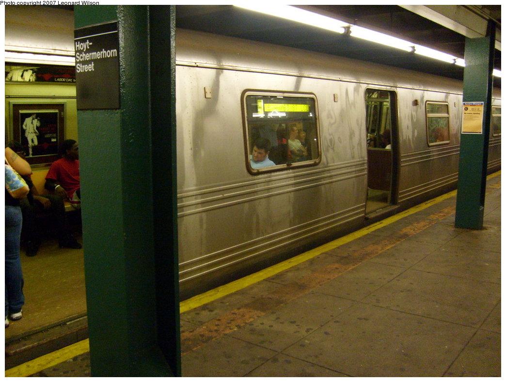 (205k, 1044x788)<br><b>Country:</b> United States<br><b>City:</b> New York<br><b>System:</b> New York City Transit<br><b>Line:</b> IND Fulton Street Line<br><b>Location:</b> Hoyt-Schermerhorn Street <br><b>Route:</b> C<br><b>Car:</b> R-46 (Pullman-Standard, 1974-75)  <br><b>Photo by:</b> Leonard Wilson<br><b>Date:</b> 8/11/2007<br><b>Notes:</b> F train rerouted over the C line.<br><b>Viewed (this week/total):</b> 4 / 3300