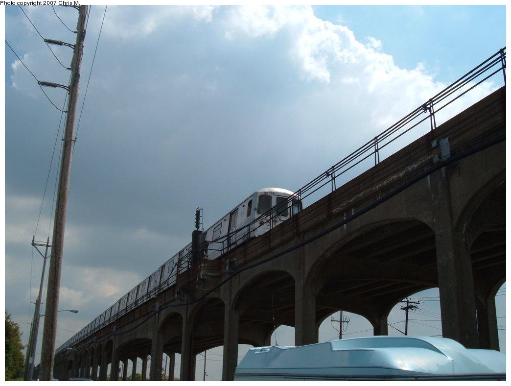 (121k, 1044x788)<br><b>Country:</b> United States<br><b>City:</b> New York<br><b>System:</b> New York City Transit<br><b>Line:</b> IND Rockaway<br><b>Location:</b> Beach 60th Street/Straiton <br><b>Route:</b> A<br><b>Car:</b> R-44 (St. Louis, 1971-73)  <br><b>Photo by:</b> Chris M.<br><b>Date:</b> 8/13/2007<br><b>Viewed (this week/total):</b> 0 / 1719