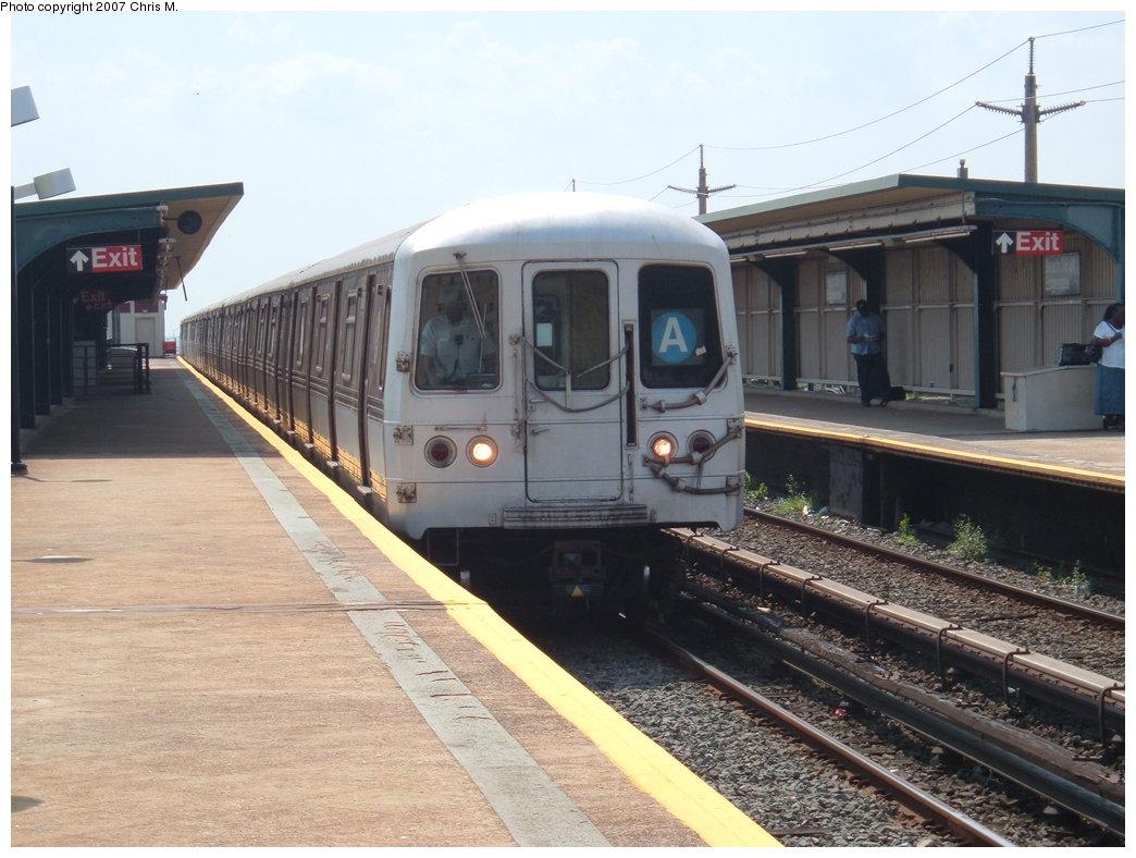 (173k, 1044x788)<br><b>Country:</b> United States<br><b>City:</b> New York<br><b>System:</b> New York City Transit<br><b>Line:</b> IND Rockaway<br><b>Location:</b> Beach 36th Street/Edgemere <br><b>Route:</b> A<br><b>Car:</b> R-44 (St. Louis, 1971-73) 5308 <br><b>Photo by:</b> Chris M.<br><b>Date:</b> 8/13/2007<br><b>Viewed (this week/total):</b> 0 / 1939