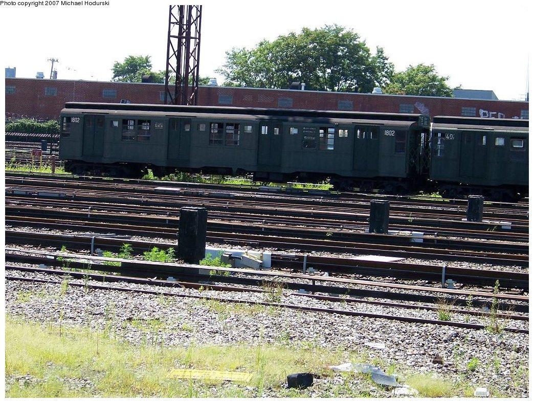 (313k, 1044x788)<br><b>Country:</b> United States<br><b>City:</b> New York<br><b>System:</b> New York City Transit<br><b>Location:</b> Coney Island Yard<br><b>Route:</b> Fan Trip<br><b>Car:</b> R-9 (Pressed Steel, 1940)  1802 <br><b>Photo by:</b> Michael Hodurski<br><b>Date:</b> 8/12/2007<br><b>Viewed (this week/total):</b> 0 / 1430