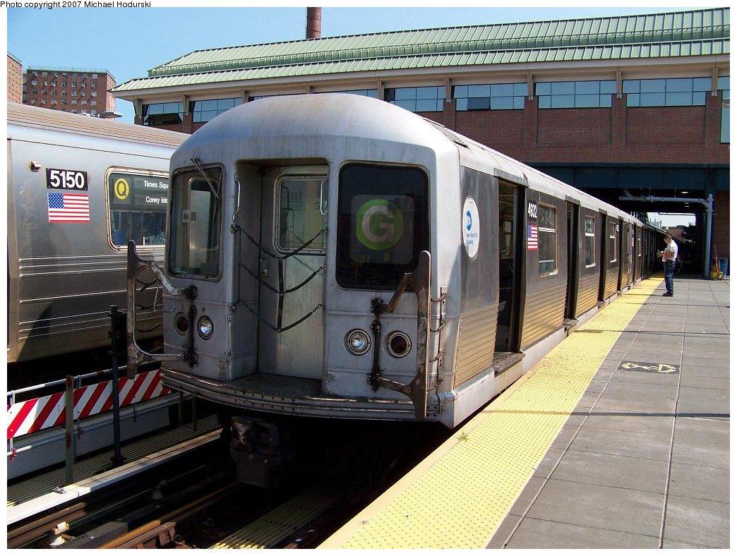(221k, 1044x788)<br><b>Country:</b> United States<br><b>City:</b> New York<br><b>System:</b> New York City Transit<br><b>Location:</b> Coney Island/Stillwell Avenue<br><b>Route:</b> G<br><b>Car:</b> R-42 (St. Louis, 1969-1970)  4932 <br><b>Photo by:</b> Michael Hodurski<br><b>Date:</b> 8/11/2007<br><b>Viewed (this week/total):</b> 1 / 1863