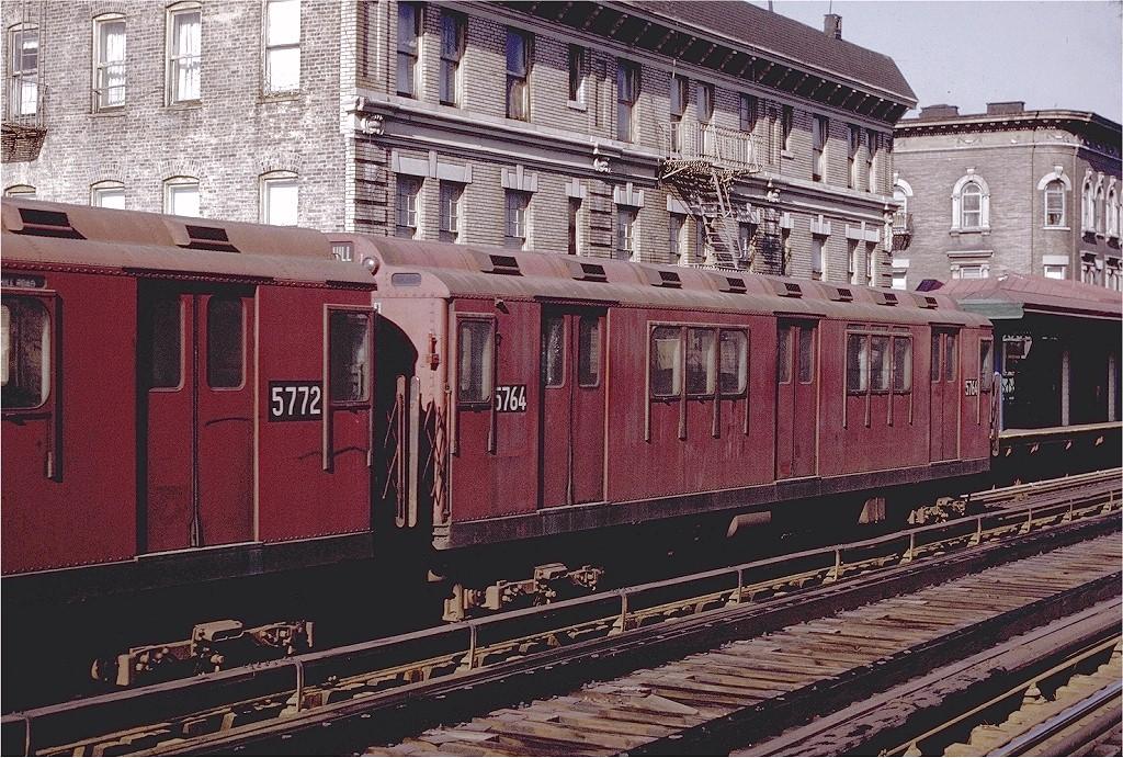 (302k, 1024x691)<br><b>Country:</b> United States<br><b>City:</b> New York<br><b>System:</b> New York City Transit<br><b>Line:</b> 3rd Avenue El<br><b>Location:</b> 183rd Street<br><b>Route:</b> 8<br><b>Car:</b> R-12 (American Car & Foundry, 1948) 5764 <br><b>Photo by:</b> Joe Testagrose<br><b>Date:</b> 2/6/1971<br><b>Viewed (this week/total):</b> 0 / 1727