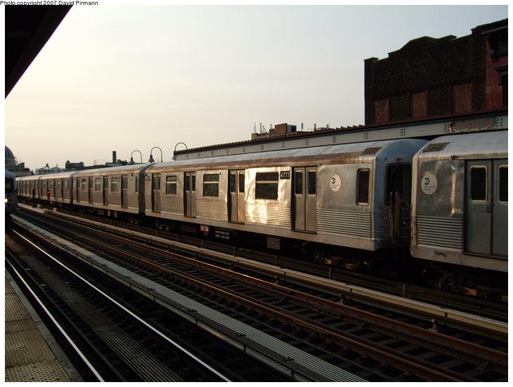 (149k, 1044x788)<br><b>Country:</b> United States<br><b>City:</b> New York<br><b>System:</b> New York City Transit<br><b>Line:</b> BMT Nassau Street/Jamaica Line<br><b>Location:</b> Marcy Avenue <br><b>Route:</b> J<br><b>Car:</b> R-42 (St. Louis, 1969-1970)  4777 <br><b>Photo by:</b> David Pirmann<br><b>Date:</b> 8/14/2007<br><b>Viewed (this week/total):</b> 0 / 1143