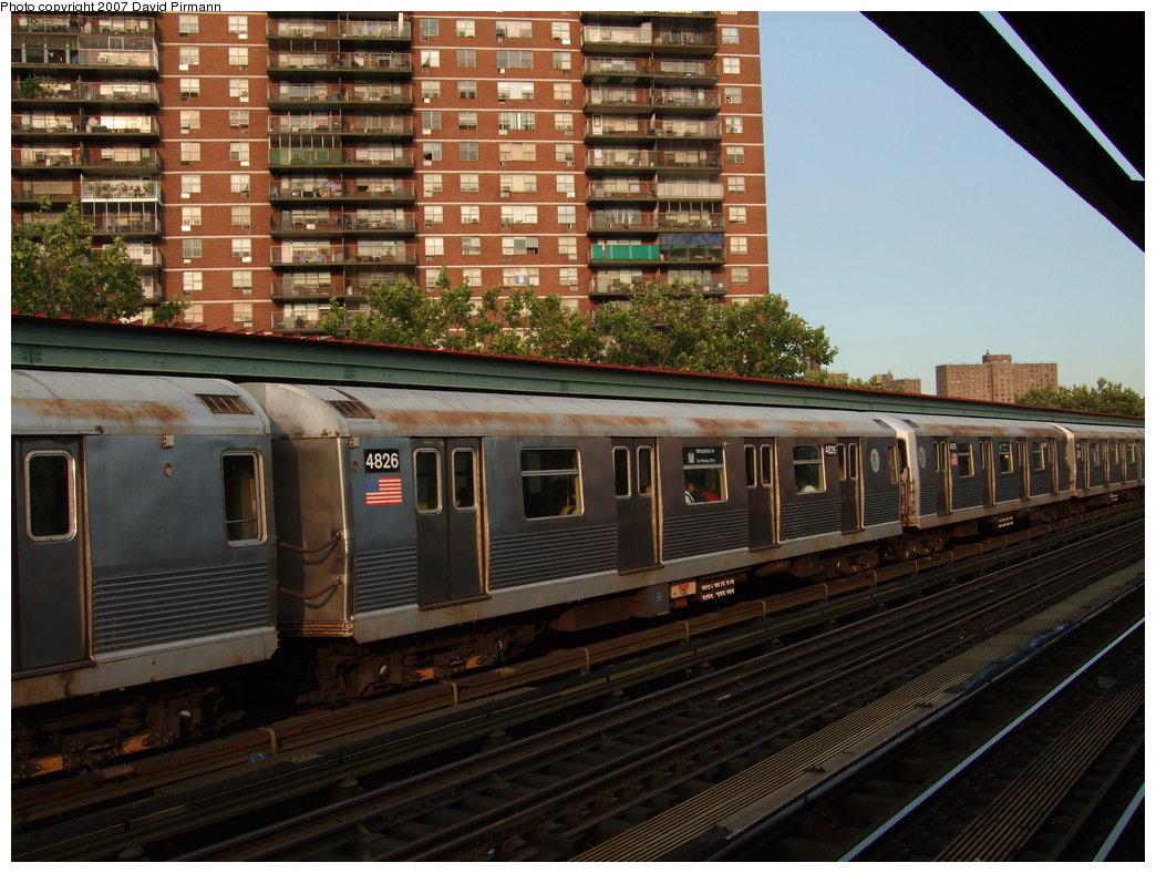 (204k, 1044x788)<br><b>Country:</b> United States<br><b>City:</b> New York<br><b>System:</b> New York City Transit<br><b>Line:</b> BMT Nassau Street/Jamaica Line<br><b>Location:</b> Lorimer Street <br><b>Route:</b> M<br><b>Car:</b> R-42 (St. Louis, 1969-1970)  4826 <br><b>Photo by:</b> David Pirmann<br><b>Date:</b> 8/14/2007<br><b>Viewed (this week/total):</b> 0 / 1380