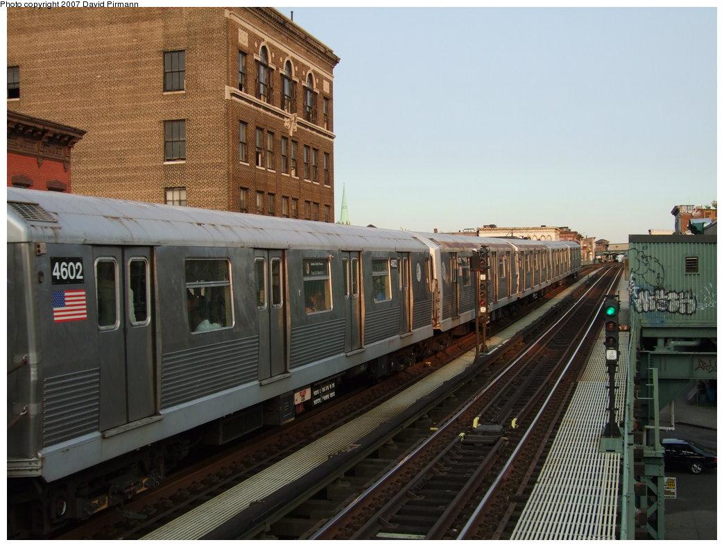(183k, 1044x788)<br><b>Country:</b> United States<br><b>City:</b> New York<br><b>System:</b> New York City Transit<br><b>Line:</b> BMT Nassau Street/Jamaica Line<br><b>Location:</b> Flushing Avenue <br><b>Route:</b> J<br><b>Car:</b> R-42 (St. Louis, 1969-1970)  4602 <br><b>Photo by:</b> David Pirmann<br><b>Date:</b> 8/14/2007<br><b>Viewed (this week/total):</b> 0 / 2034