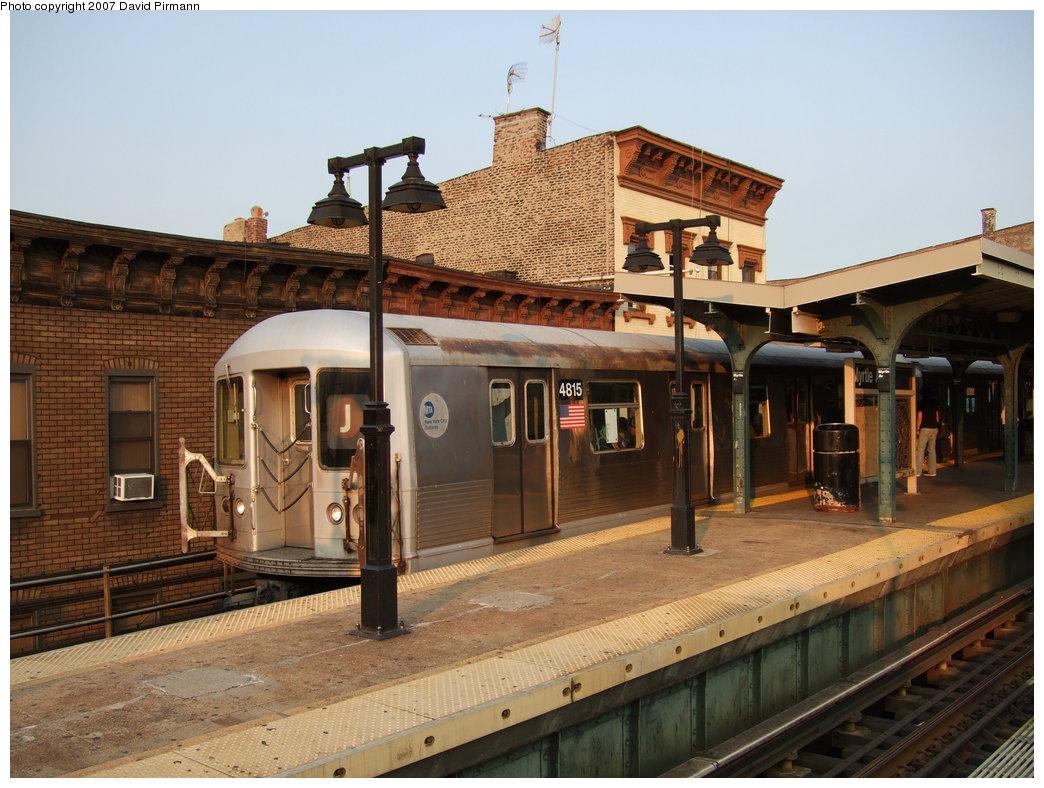 (193k, 1044x788)<br><b>Country:</b> United States<br><b>City:</b> New York<br><b>System:</b> New York City Transit<br><b>Line:</b> BMT Nassau Street/Jamaica Line<br><b>Location:</b> Myrtle Avenue <br><b>Route:</b> J<br><b>Car:</b> R-42 (St. Louis, 1969-1970)  4815 <br><b>Photo by:</b> David Pirmann<br><b>Date:</b> 8/14/2007<br><b>Viewed (this week/total):</b> 1 / 1638