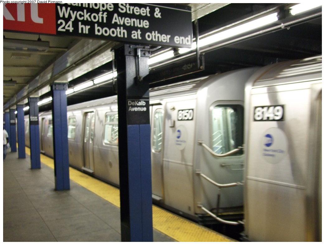(140k, 1044x788)<br><b>Country:</b> United States<br><b>City:</b> New York<br><b>System:</b> New York City Transit<br><b>Line:</b> BMT Canarsie Line<br><b>Location:</b> DeKalb Avenue <br><b>Route:</b> L<br><b>Car:</b> R-143 (Kawasaki, 2001-2002) 8150 <br><b>Photo by:</b> David Pirmann<br><b>Date:</b> 8/14/2007<br><b>Viewed (this week/total):</b> 1 / 3165