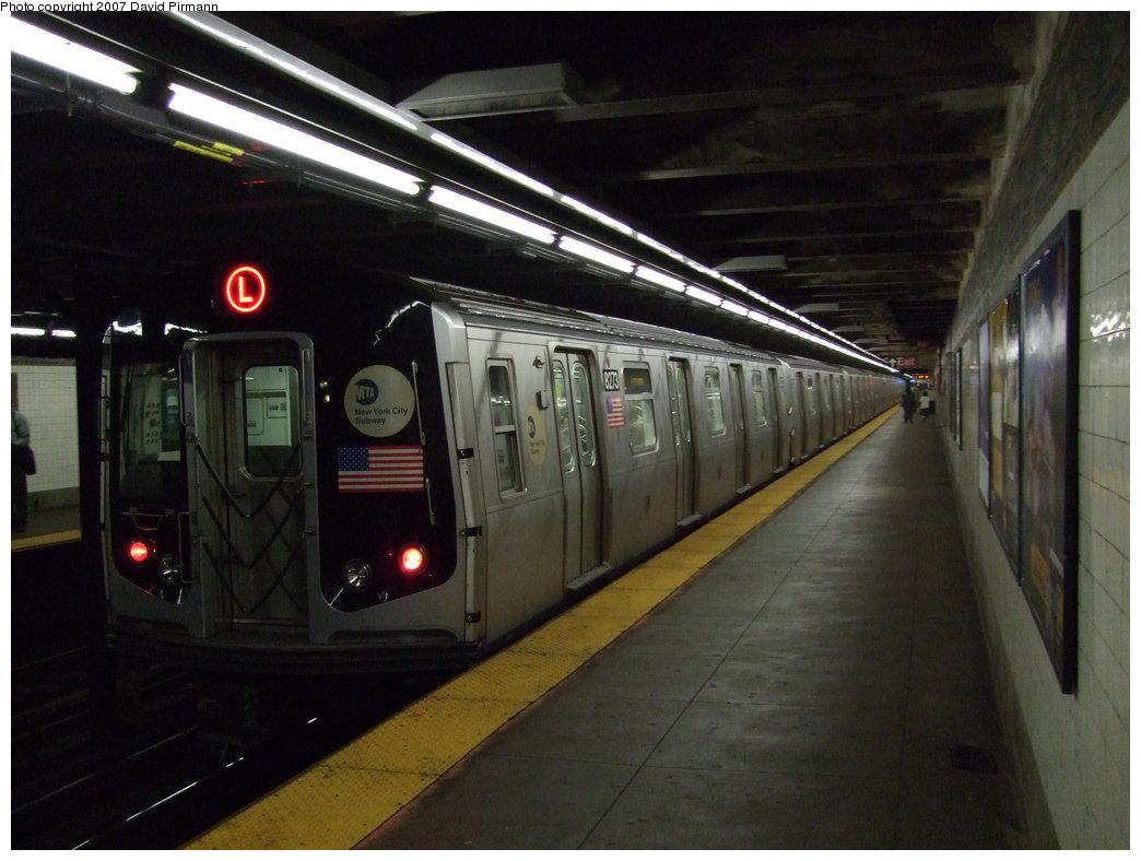 (150k, 1044x788)<br><b>Country:</b> United States<br><b>City:</b> New York<br><b>System:</b> New York City Transit<br><b>Line:</b> BMT Canarsie Line<br><b>Location:</b> 1st Avenue <br><b>Route:</b> L<br><b>Car:</b> R-143 (Kawasaki, 2001-2002) 8273 <br><b>Photo by:</b> David Pirmann<br><b>Date:</b> 8/14/2007<br><b>Viewed (this week/total):</b> 0 / 3747