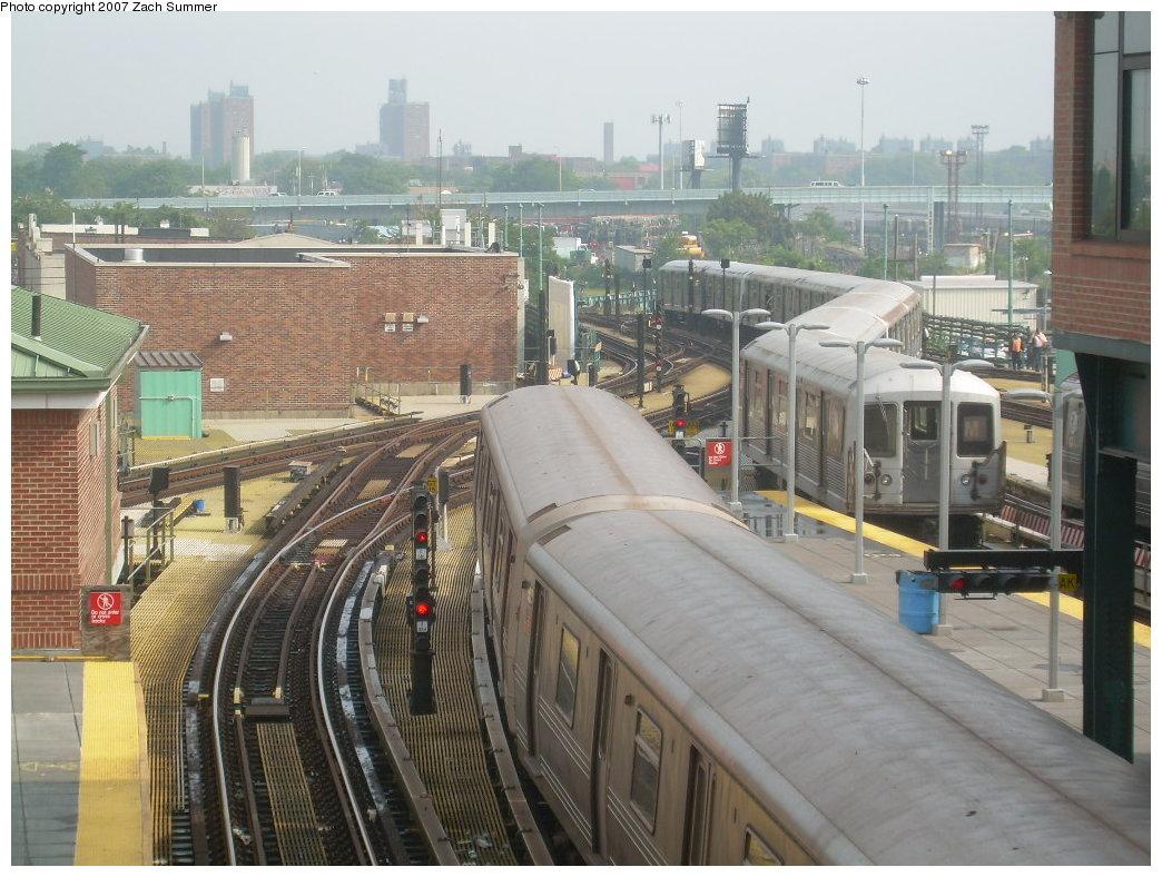 (225k, 1044x788)<br><b>Country:</b> United States<br><b>City:</b> New York<br><b>System:</b> New York City Transit<br><b>Location:</b> Coney Island/Stillwell Avenue<br><b>Route:</b> M<br><b>Car:</b> R-42 (St. Louis, 1969-1970)   <br><b>Photo by:</b> Zach Summer<br><b>Date:</b> 8/8/2007<br><b>Notes:</b> Rerouted M train entering yard for layup.<br><b>Viewed (this week/total):</b> 2 / 2451