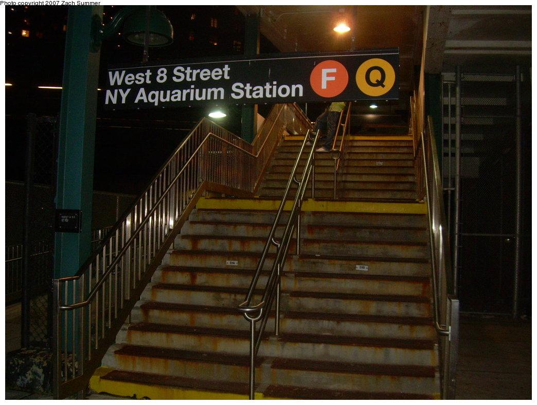 (196k, 1044x788)<br><b>Country:</b> United States<br><b>City:</b> New York<br><b>System:</b> New York City Transit<br><b>Line:</b> BMT Culver Line<br><b>Location:</b> West 8th Street <br><b>Photo by:</b> Zach Summer<br><b>Date:</b> 8/9/2007<br><b>Notes:</b> Station entrance.<br><b>Viewed (this week/total):</b> 1 / 1492