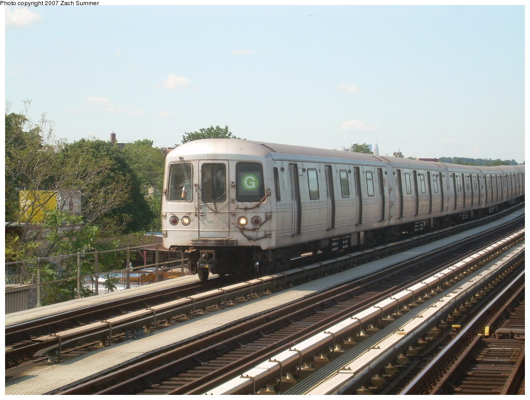 (213k, 1044x788)<br><b>Country:</b> United States<br><b>City:</b> New York<br><b>System:</b> New York City Transit<br><b>Line:</b> BMT Culver Line<br><b>Location:</b> Bay Parkway (22nd Avenue) <br><b>Route:</b> G<br><b>Car:</b> R-46 (Pullman-Standard, 1974-75)  <br><b>Photo by:</b> Zach Summer<br><b>Date:</b> 8/12/2007<br><b>Viewed (this week/total):</b> 3 / 1418