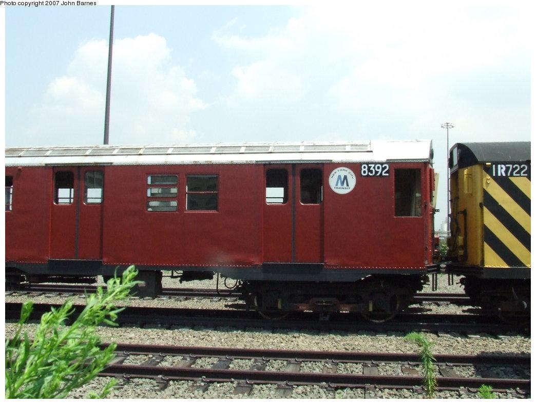 (147k, 1044x788)<br><b>Country:</b> United States<br><b>City:</b> New York<br><b>System:</b> New York City Transit<br><b>Line:</b> South Brooklyn Railway<br><b>Location:</b> SBK Yard (2nd Ave at 38th St.) (SBK)<br><b>Car:</b> R-30 (St. Louis, 1961) 8392 <br><b>Photo by:</b> John Barnes<br><b>Date:</b> 7/17/2007<br><b>Viewed (this week/total):</b> 3 / 1654