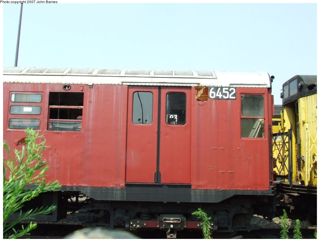 (140k, 1044x788)<br><b>Country:</b> United States<br><b>City:</b> New York<br><b>System:</b> New York City Transit<br><b>Line:</b> South Brooklyn Railway<br><b>Location:</b> SBK Yard (2nd Ave at 38th St.) (SBK)<br><b>Car:</b> R-16 (American Car & Foundry, 1955) 6452 <br><b>Photo by:</b> John Barnes<br><b>Date:</b> 7/17/2007<br><b>Viewed (this week/total):</b> 3 / 4268