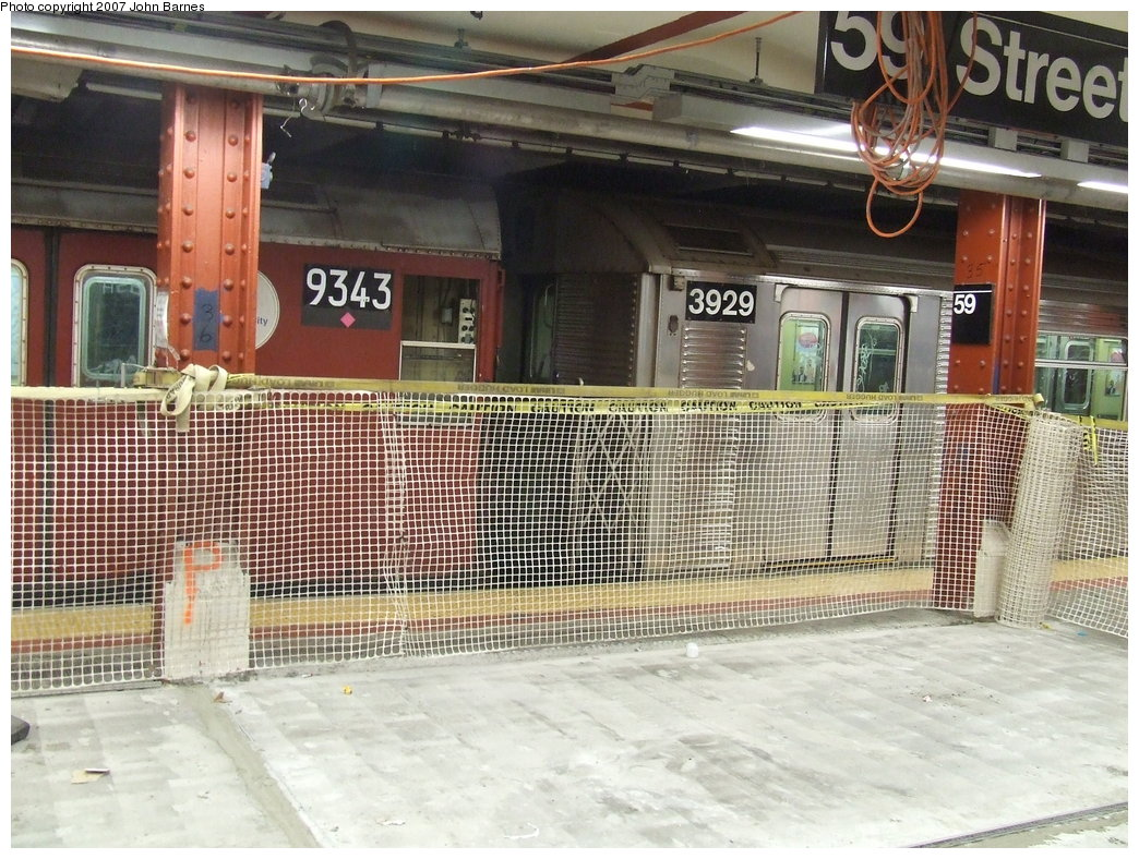 (240k, 1044x788)<br><b>Country:</b> United States<br><b>City:</b> New York<br><b>System:</b> New York City Transit<br><b>Line:</b> IND 8th Avenue Line<br><b>Location:</b> 59th Street/Columbus Circle <br><b>Route:</b> Work Service<br><b>Car:</b> R-33 World's Fair (St. Louis, 1963-64) 9343 <br><b>Photo by:</b> John Barnes<br><b>Date:</b> 8/10/2007<br><b>Viewed (this week/total):</b> 1 / 2811
