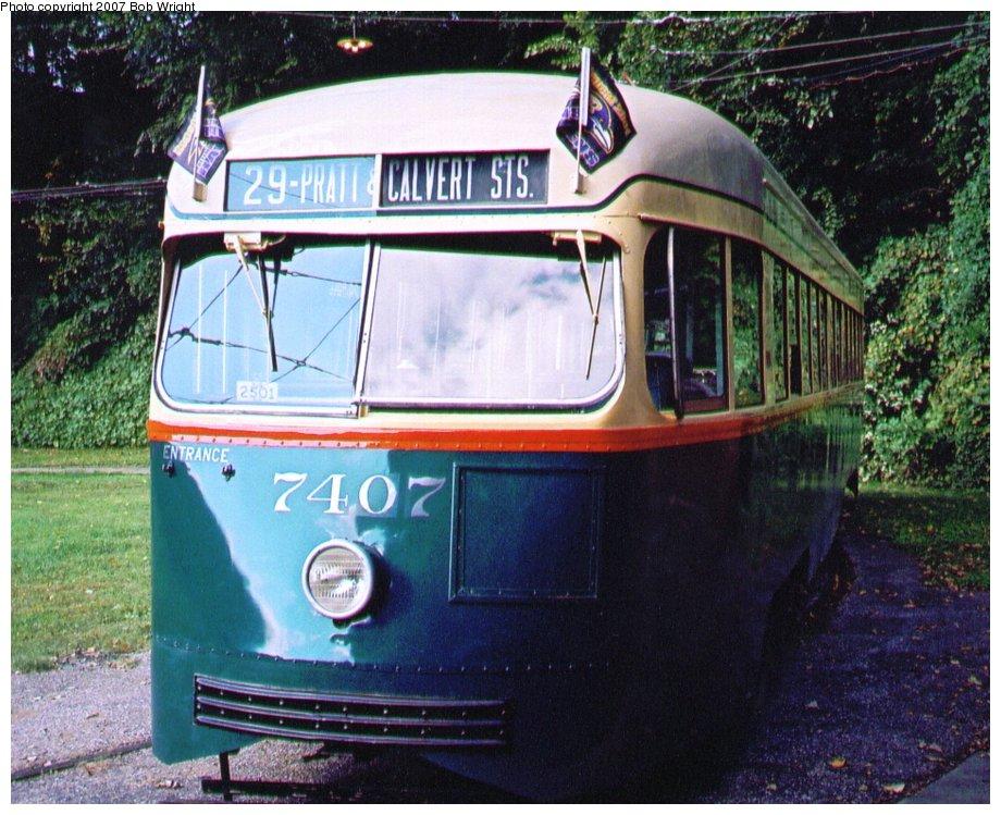 (166k, 920x749)<br><b>Country:</b> United States<br><b>City:</b> Baltimore, MD<br><b>System:</b> Baltimore Streetcar Museum <br><b>Car:</b> PCC 7407 <br><b>Photo by:</b> Bob Wright<br><b>Date:</b> 10/2004<br><b>Viewed (this week/total):</b> 1 / 986
