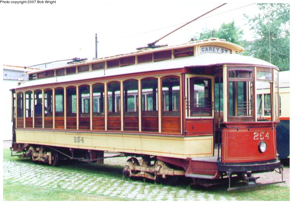 (118k, 940x655)<br><b>Country:</b> United States<br><b>City:</b> Baltimore, MD<br><b>System:</b> Baltimore Streetcar Museum <br><b>Car:</b>  264 <br><b>Photo by:</b> Bob Wright<br><b>Date:</b> 7/1995<br><b>Viewed (this week/total):</b> 2 / 1857