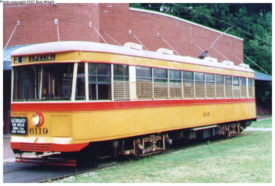 (118k, 910x617)<br><b>Country:</b> United States<br><b>City:</b> Baltimore, MD<br><b>System:</b> Baltimore Streetcar Museum <br><b>Car:</b>  6119 <br><b>Photo by:</b> Bob Wright<br><b>Date:</b> 7/1995<br><b>Viewed (this week/total):</b> 3 / 884
