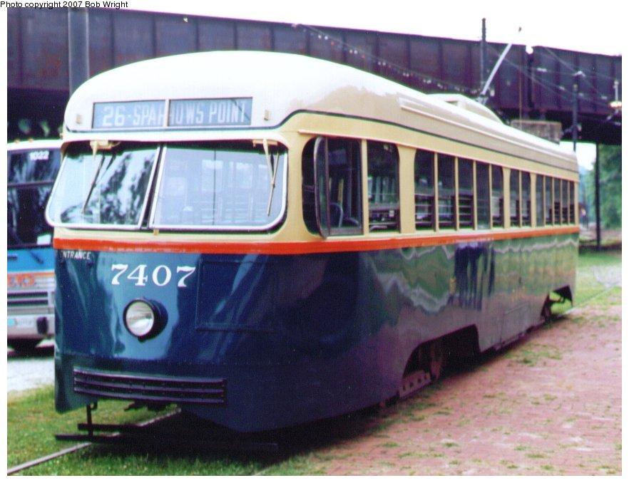 (104k, 882x678)<br><b>Country:</b> United States<br><b>City:</b> Baltimore, MD<br><b>System:</b> Baltimore Streetcar Museum <br><b>Car:</b> PCC 7407 <br><b>Photo by:</b> Bob Wright<br><b>Date:</b> 7/1995<br><b>Viewed (this week/total):</b> 11 / 866