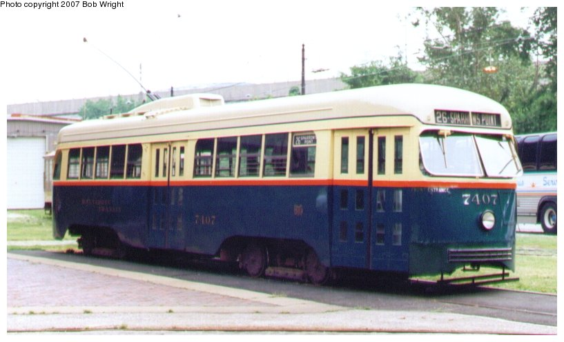 (71k, 817x496)<br><b>Country:</b> United States<br><b>City:</b> Baltimore, MD<br><b>System:</b> Baltimore Streetcar Museum <br><b>Car:</b> PCC 7407 <br><b>Photo by:</b> Bob Wright<br><b>Date:</b> 7/1995<br><b>Viewed (this week/total):</b> 0 / 925