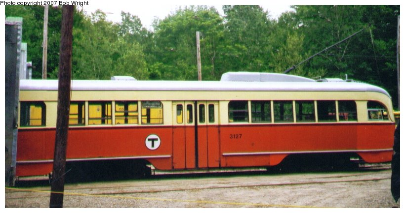 (79k, 820x433)<br><b>Country:</b> United States<br><b>City:</b> Kennebunk, ME<br><b>System:</b> Seashore Trolley Museum <br><b>Car:</b> MBTA/BSRy PCC Wartime (Pullman-Standard, 1944)  3127 <br><b>Photo by:</b> Bob Wright<br><b>Date:</b> 7/1997<br><b>Viewed (this week/total):</b> 0 / 1338