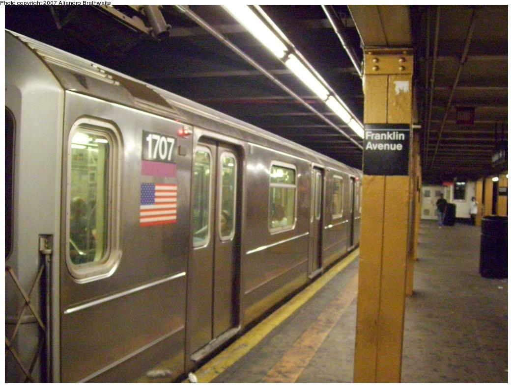 (201k, 1044x791)<br><b>Country:</b> United States<br><b>City:</b> New York<br><b>System:</b> New York City Transit<br><b>Line:</b> IRT Brooklyn Line<br><b>Location:</b> Franklin Avenue <br><b>Route:</b> 4<br><b>Car:</b> R-62A (Bombardier, 1984-1987)  1707 <br><b>Photo by:</b> Aliandro Brathwaite<br><b>Date:</b> 8/14/2007<br><b>Viewed (this week/total):</b> 0 / 3175