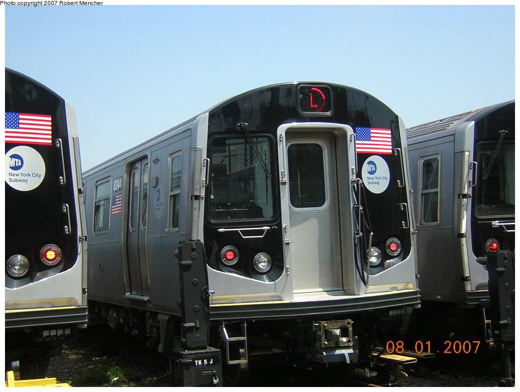 (174k, 1044x788)<br><b>Country:</b> United States<br><b>City:</b> New York<br><b>System:</b> New York City Transit<br><b>Location:</b> Rockaway Parkway (Canarsie) Yard<br><b>Car:</b> R-160A-1 (Alstom, 2005-2008, 4 car sets)  8344 <br><b>Photo by:</b> Robert Mencher<br><b>Date:</b> 8/1/2007<br><b>Viewed (this week/total):</b> 2 / 1746