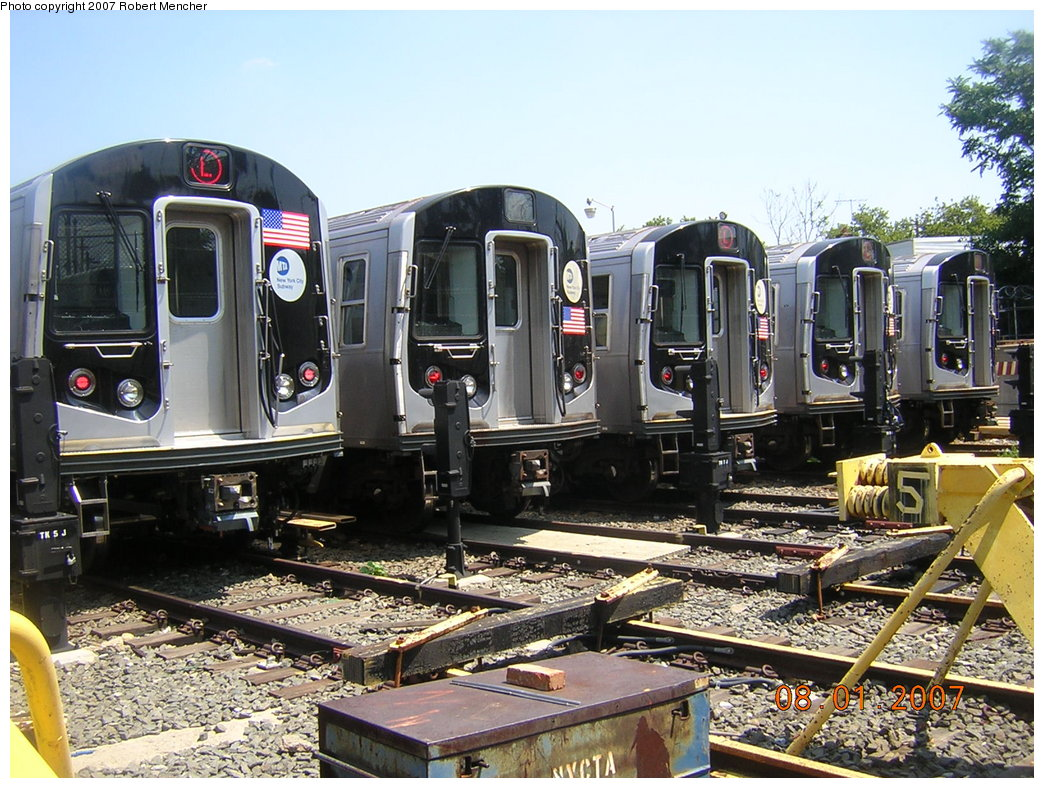 (256k, 1044x788)<br><b>Country:</b> United States<br><b>City:</b> New York<br><b>System:</b> New York City Transit<br><b>Location:</b> Rockaway Parkway (Canarsie) Yard<br><b>Car:</b> R-160A-1 (Alstom, 2005-2008, 4 car sets)   <br><b>Photo by:</b> Robert Mencher<br><b>Date:</b> 8/1/2007<br><b>Viewed (this week/total):</b> 0 / 3836