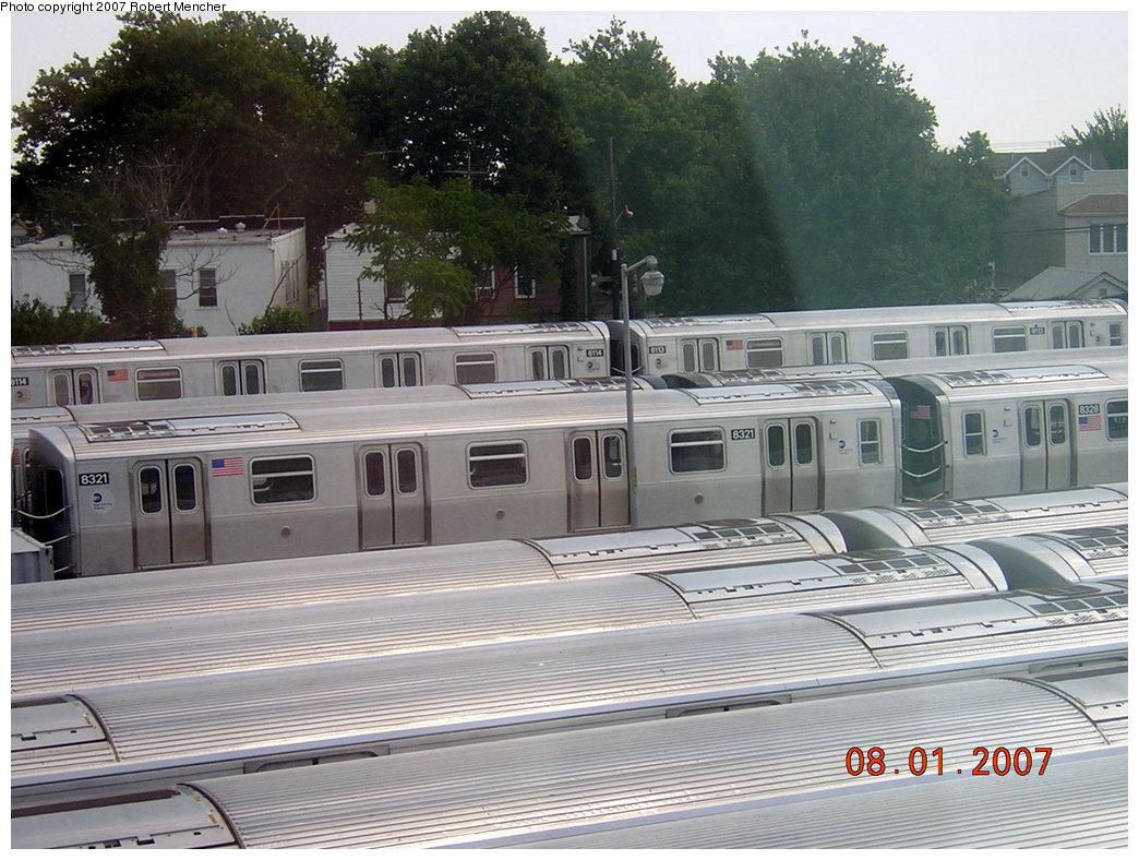 (245k, 1044x788)<br><b>Country:</b> United States<br><b>City:</b> New York<br><b>System:</b> New York City Transit<br><b>Location:</b> Rockaway Parkway (Canarsie) Yard<br><b>Car:</b> R-160A-1 (Alstom, 2005-2008, 4 car sets)  8321 <br><b>Photo by:</b> Robert Mencher<br><b>Date:</b> 8/1/2007<br><b>Viewed (this week/total):</b> 0 / 2860