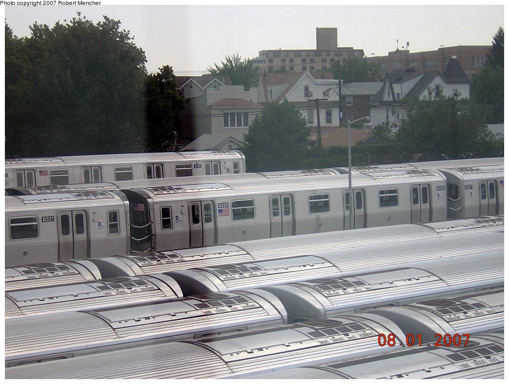 (237k, 1044x788)<br><b>Country:</b> United States<br><b>City:</b> New York<br><b>System:</b> New York City Transit<br><b>Location:</b> Rockaway Parkway (Canarsie) Yard<br><b>Car:</b> R-160A-1 (Alstom, 2005-2008, 4 car sets)  8328 <br><b>Photo by:</b> Robert Mencher<br><b>Date:</b> 8/1/2007<br><b>Viewed (this week/total):</b> 0 / 2506