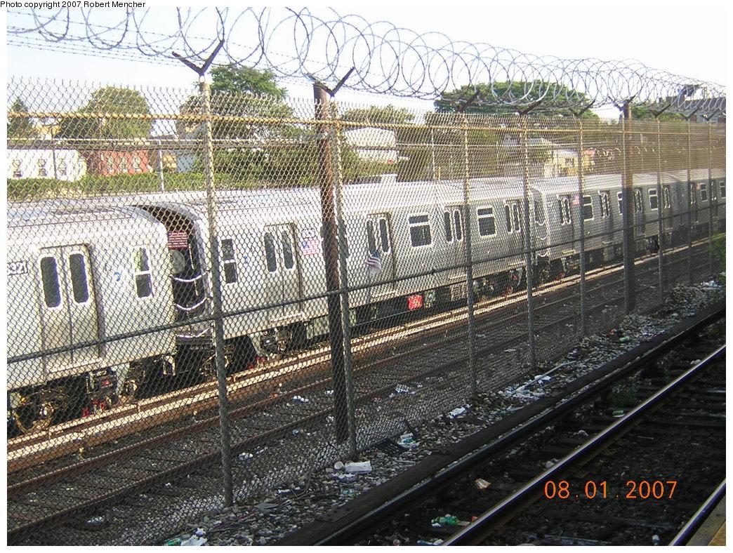 (346k, 1044x788)<br><b>Country:</b> United States<br><b>City:</b> New York<br><b>System:</b> New York City Transit<br><b>Location:</b> Rockaway Parkway (Canarsie) Yard<br><b>Car:</b> R-160A-1 (Alstom, 2005-2008, 4 car sets)  8326 <br><b>Photo by:</b> Robert Mencher<br><b>Date:</b> 8/1/2007<br><b>Viewed (this week/total):</b> 10 / 2641