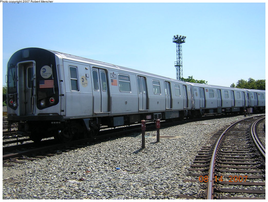 (250k, 1044x788)<br><b>Country:</b> United States<br><b>City:</b> New York<br><b>System:</b> New York City Transit<br><b>Location:</b> Rockaway Parkway (Canarsie) Yard<br><b>Car:</b> R-143 (Kawasaki, 2001-2002) 8236 <br><b>Photo by:</b> Robert Mencher<br><b>Date:</b> 8/14/2007<br><b>Viewed (this week/total):</b> 0 / 2245