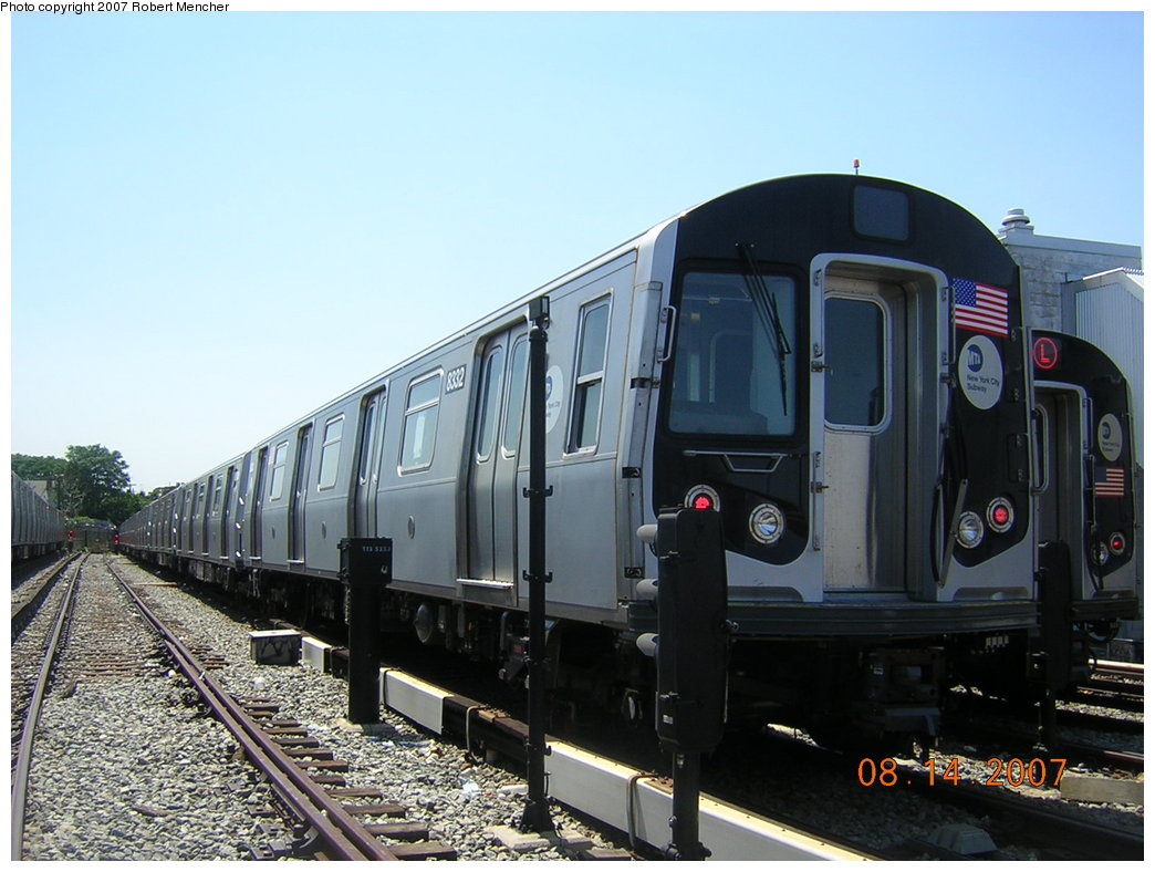 (192k, 1044x788)<br><b>Country:</b> United States<br><b>City:</b> New York<br><b>System:</b> New York City Transit<br><b>Location:</b> Rockaway Parkway (Canarsie) Yard<br><b>Car:</b> R-160A-1 (Alstom, 2005-2008, 4 car sets)  8332 <br><b>Photo by:</b> Robert Mencher<br><b>Date:</b> 8/14/2007<br><b>Viewed (this week/total):</b> 1 / 2149