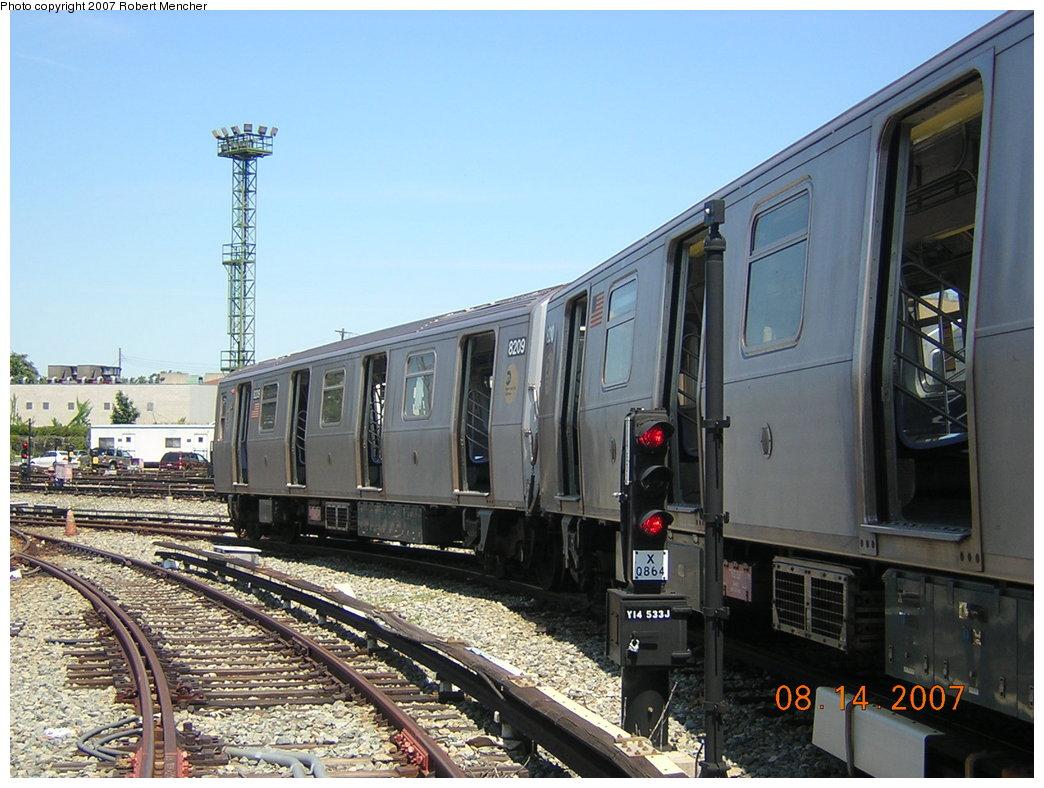 (217k, 1044x788)<br><b>Country:</b> United States<br><b>City:</b> New York<br><b>System:</b> New York City Transit<br><b>Location:</b> Rockaway Parkway (Canarsie) Yard<br><b>Car:</b> R-143 (Kawasaki, 2001-2002) 8209 <br><b>Photo by:</b> Robert Mencher<br><b>Date:</b> 8/14/2007<br><b>Viewed (this week/total):</b> 0 / 2032