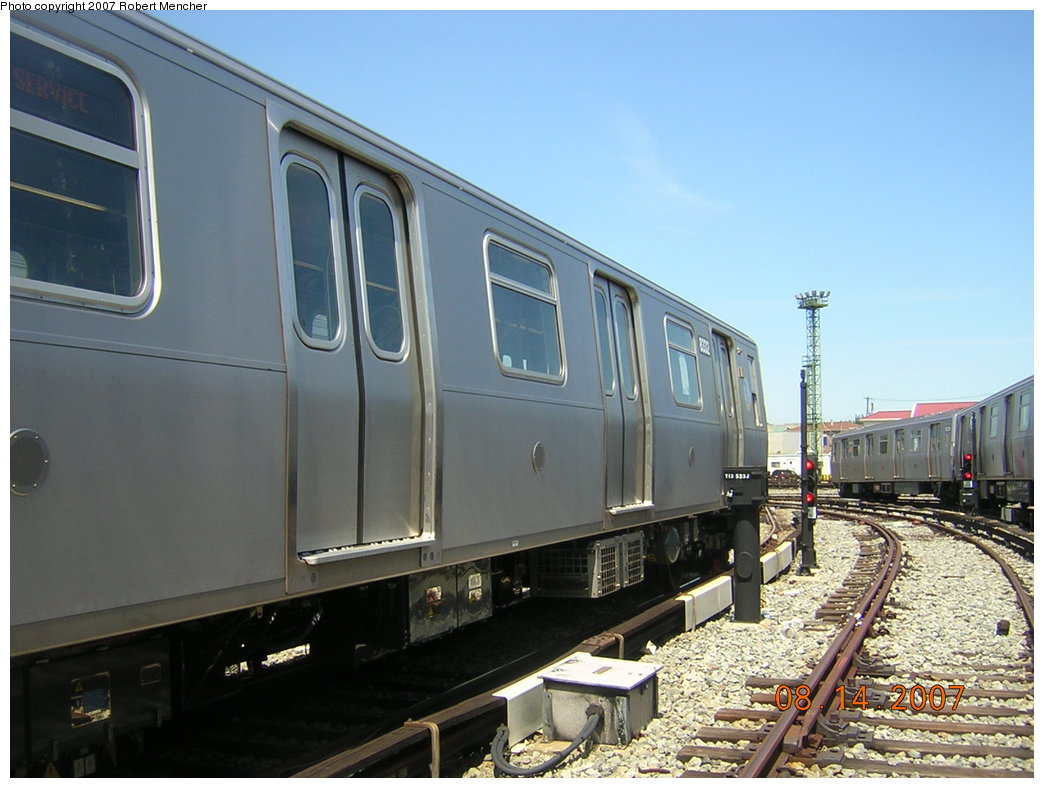 (188k, 1044x788)<br><b>Country:</b> United States<br><b>City:</b> New York<br><b>System:</b> New York City Transit<br><b>Location:</b> Rockaway Parkway (Canarsie) Yard<br><b>Car:</b> R-160A-1 (Alstom, 2005-2008, 4 car sets)  8332 <br><b>Photo by:</b> Robert Mencher<br><b>Date:</b> 8/14/2007<br><b>Viewed (this week/total):</b> 0 / 1536