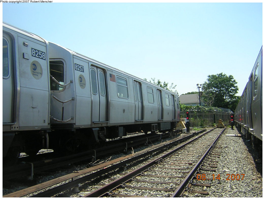(214k, 1044x788)<br><b>Country:</b> United States<br><b>City:</b> New York<br><b>System:</b> New York City Transit<br><b>Location:</b> Rockaway Parkway (Canarsie) Yard<br><b>Car:</b> R-143 (Kawasaki, 2001-2002) 8257 <br><b>Photo by:</b> Robert Mencher<br><b>Date:</b> 8/14/2007<br><b>Viewed (this week/total):</b> 0 / 2251
