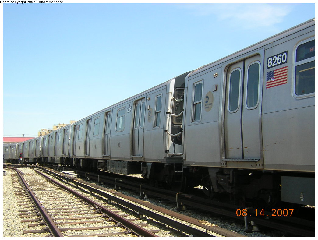 (189k, 1044x788)<br><b>Country:</b> United States<br><b>City:</b> New York<br><b>System:</b> New York City Transit<br><b>Location:</b> Rockaway Parkway (Canarsie) Yard<br><b>Car:</b> R-143 (Kawasaki, 2001-2002) 8212 <br><b>Photo by:</b> Robert Mencher<br><b>Date:</b> 8/14/2007<br><b>Viewed (this week/total):</b> 0 / 1746