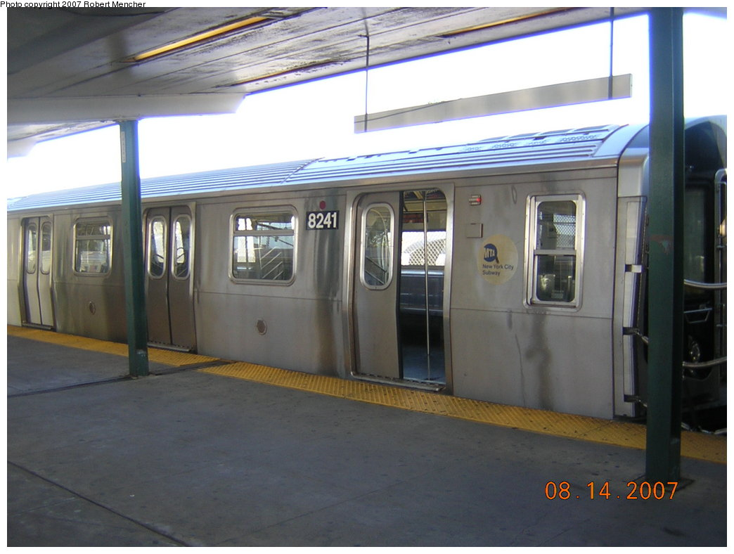 (169k, 1044x788)<br><b>Country:</b> United States<br><b>City:</b> New York<br><b>System:</b> New York City Transit<br><b>Line:</b> BMT Canarsie Line<br><b>Location:</b> Rockaway Parkway <br><b>Route:</b> L<br><b>Car:</b> R-143 (Kawasaki, 2001-2002) 8241 <br><b>Photo by:</b> Robert Mencher<br><b>Date:</b> 8/14/2007<br><b>Viewed (this week/total):</b> 0 / 1792