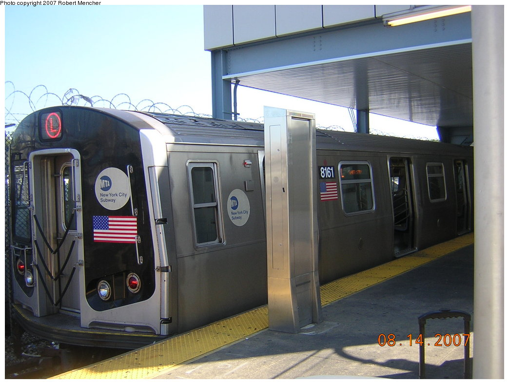 (185k, 1044x788)<br><b>Country:</b> United States<br><b>City:</b> New York<br><b>System:</b> New York City Transit<br><b>Line:</b> BMT Canarsie Line<br><b>Location:</b> Rockaway Parkway <br><b>Route:</b> L<br><b>Car:</b> R-143 (Kawasaki, 2001-2002) 8161 <br><b>Photo by:</b> Robert Mencher<br><b>Date:</b> 8/14/2007<br><b>Viewed (this week/total):</b> 0 / 1911
