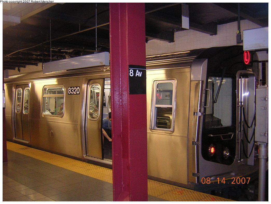 (231k, 1044x788)<br><b>Country:</b> United States<br><b>City:</b> New York<br><b>System:</b> New York City Transit<br><b>Line:</b> BMT Canarsie Line<br><b>Location:</b> 8th Avenue <br><b>Route:</b> L<br><b>Car:</b> R-160A-1 (Alstom, 2005-2008, 4 car sets)  8320 <br><b>Photo by:</b> Robert Mencher<br><b>Date:</b> 8/14/2007<br><b>Viewed (this week/total):</b> 3 / 2500
