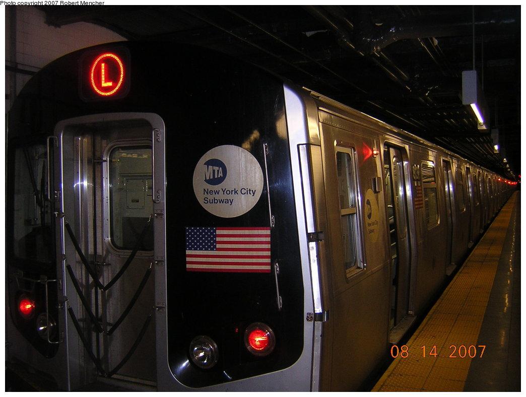 (171k, 1044x788)<br><b>Country:</b> United States<br><b>City:</b> New York<br><b>System:</b> New York City Transit<br><b>Line:</b> BMT Canarsie Line<br><b>Location:</b> 8th Avenue <br><b>Route:</b> L<br><b>Car:</b> R-143 (Kawasaki, 2001-2002) 8131 <br><b>Photo by:</b> Robert Mencher<br><b>Date:</b> 8/14/2007<br><b>Viewed (this week/total):</b> 1 / 2724