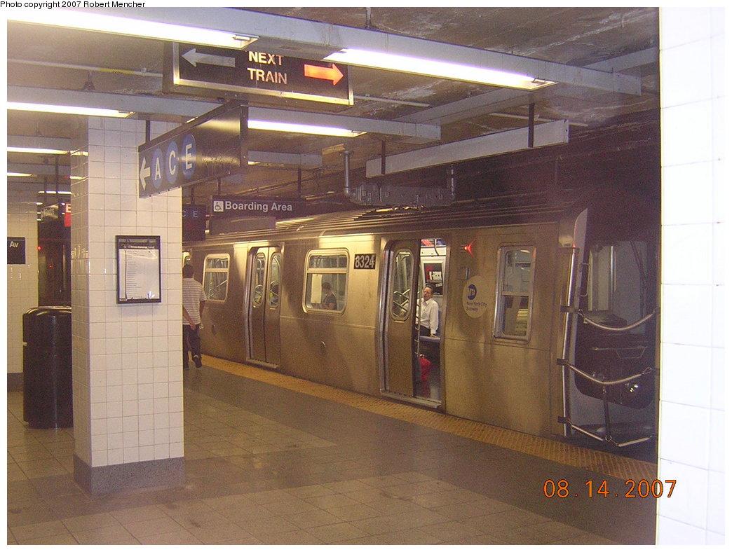 (208k, 1044x788)<br><b>Country:</b> United States<br><b>City:</b> New York<br><b>System:</b> New York City Transit<br><b>Line:</b> BMT Canarsie Line<br><b>Location:</b> 8th Avenue <br><b>Route:</b> L<br><b>Car:</b> R-160A-1 (Alstom, 2005-2008, 4 car sets)  8324 <br><b>Photo by:</b> Robert Mencher<br><b>Date:</b> 8/14/2007<br><b>Viewed (this week/total):</b> 0 / 2571