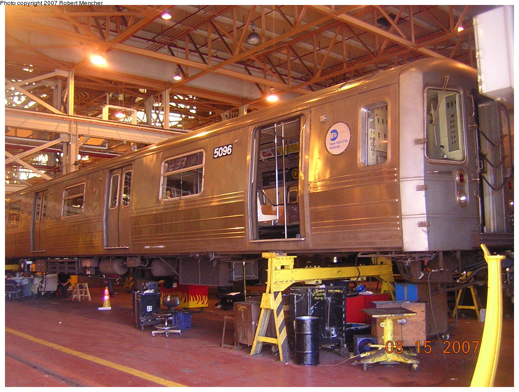 (266k, 1044x788)<br><b>Country:</b> United States<br><b>City:</b> New York<br><b>System:</b> New York City Transit<br><b>Location:</b> Coney Island Shop/Maint. & Inspection Shop<br><b>Car:</b> R-68A (Kawasaki, 1988-1989)  5096 <br><b>Photo by:</b> Robert Mencher<br><b>Date:</b> 8/15/2007<br><b>Viewed (this week/total):</b> 1 / 2644