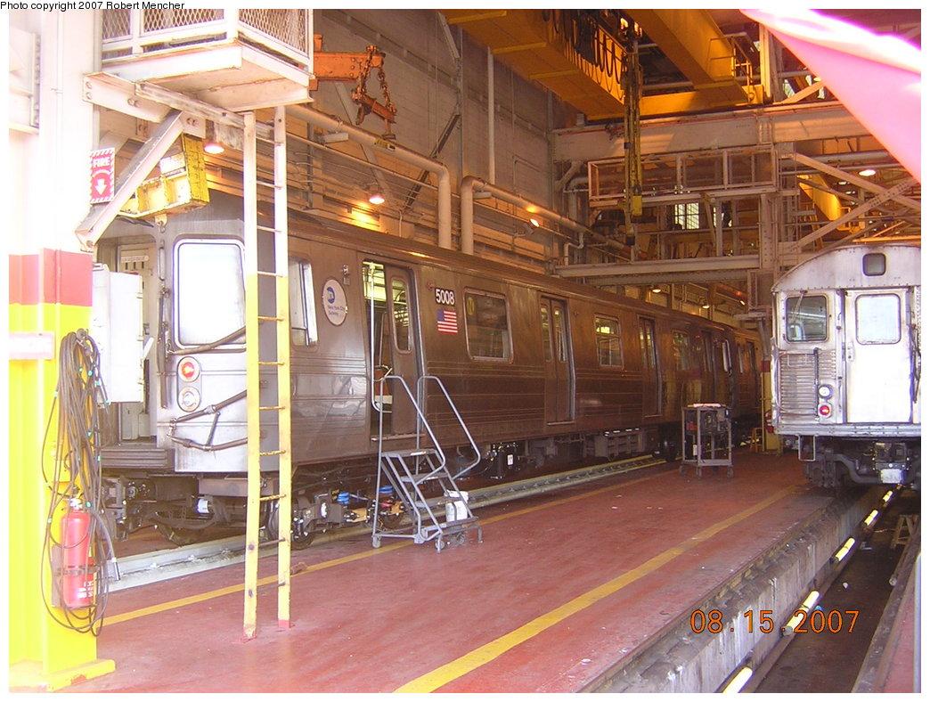 (242k, 1044x788)<br><b>Country:</b> United States<br><b>City:</b> New York<br><b>System:</b> New York City Transit<br><b>Location:</b> Coney Island Shop/Maint. & Inspection Shop<br><b>Car:</b> R-68A (Kawasaki, 1988-1989)  5008 <br><b>Photo by:</b> Robert Mencher<br><b>Date:</b> 8/15/2007<br><b>Viewed (this week/total):</b> 5 / 1939