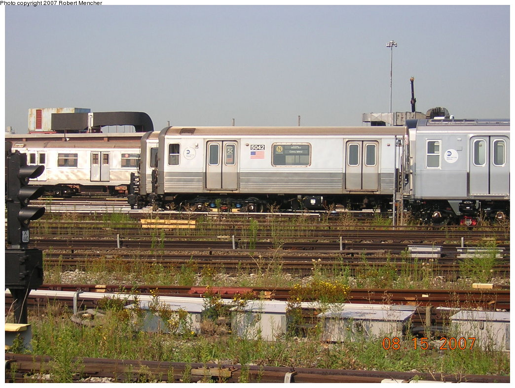 (244k, 1044x788)<br><b>Country:</b> United States<br><b>City:</b> New York<br><b>System:</b> New York City Transit<br><b>Location:</b> Coney Island Yard<br><b>Car:</b> R-68A (Kawasaki, 1988-1989)  5042 <br><b>Photo by:</b> Robert Mencher<br><b>Date:</b> 8/15/2007<br><b>Viewed (this week/total):</b> 1 / 1998