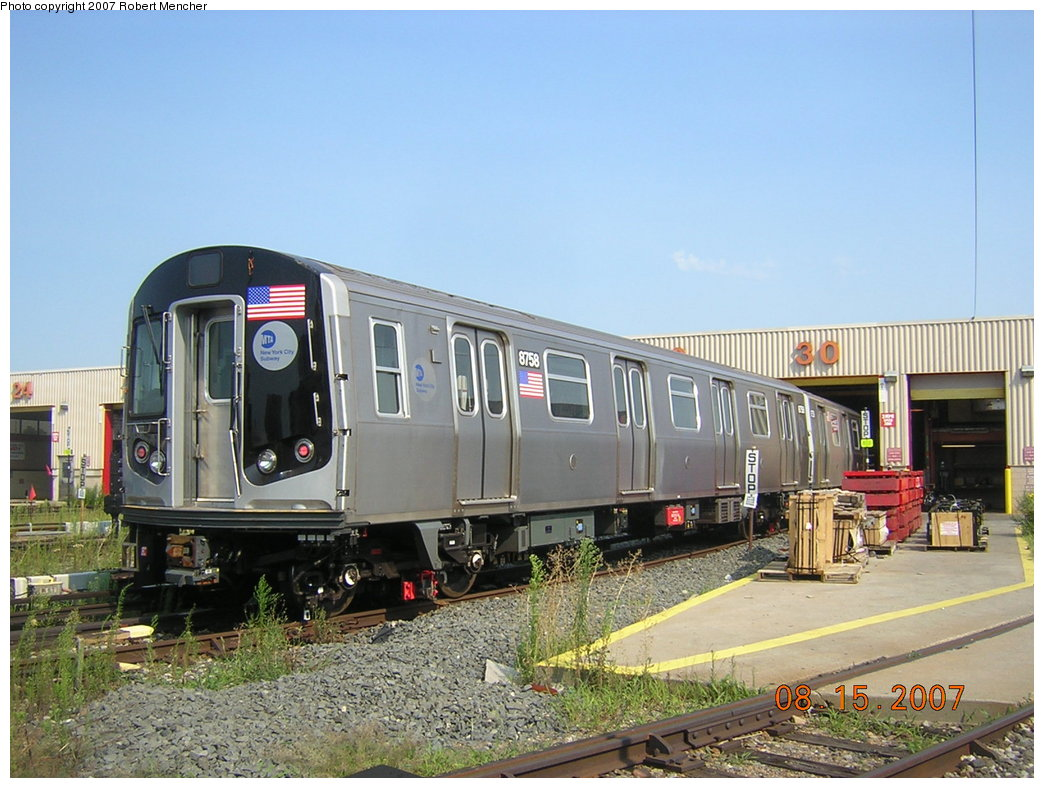 (212k, 1044x788)<br><b>Country:</b> United States<br><b>City:</b> New York<br><b>System:</b> New York City Transit<br><b>Location:</b> Coney Island Yard<br><b>Car:</b> R-160B (Kawasaki, 2005-2008)  8758 <br><b>Photo by:</b> Robert Mencher<br><b>Date:</b> 8/15/2007<br><b>Viewed (this week/total):</b> 11 / 2625