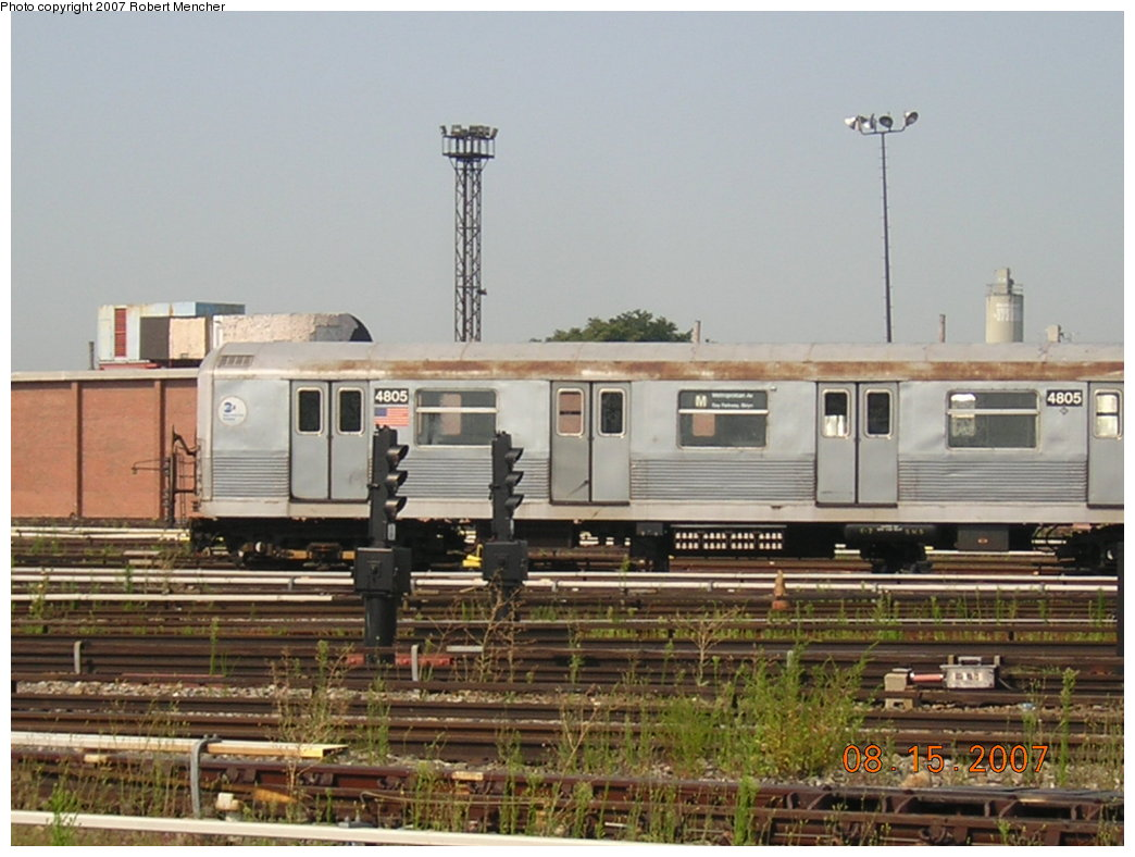 (189k, 1044x788)<br><b>Country:</b> United States<br><b>City:</b> New York<br><b>System:</b> New York City Transit<br><b>Location:</b> Coney Island Yard<br><b>Car:</b> R-42 (St. Louis, 1969-1970)  4805 <br><b>Photo by:</b> Robert Mencher<br><b>Date:</b> 8/15/2007<br><b>Viewed (this week/total):</b> 0 / 1461