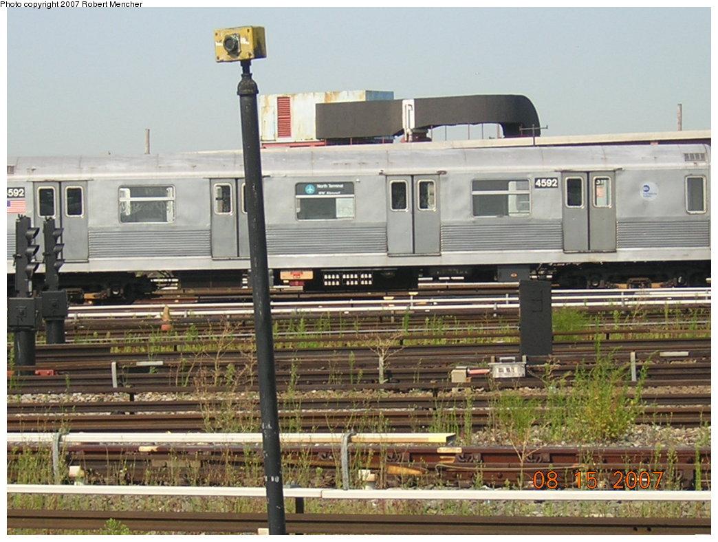 (214k, 1044x788)<br><b>Country:</b> United States<br><b>City:</b> New York<br><b>System:</b> New York City Transit<br><b>Location:</b> Coney Island Yard<br><b>Car:</b> R-42 (St. Louis, 1969-1970)  4592 <br><b>Photo by:</b> Robert Mencher<br><b>Date:</b> 8/15/2007<br><b>Viewed (this week/total):</b> 0 / 1864